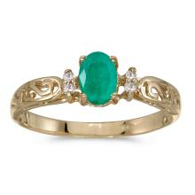 Certified 10k Yellow Gold Oval Emerald And Diamond Ring #25522v3