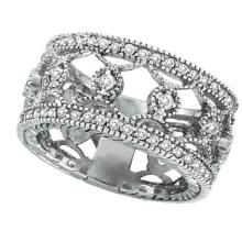 Antique Style Diamond Eternity Ring Wide Band 14k White Gold (0.75ct) #51567v3