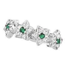 Emerald and Diamond Flower Fashion Ring in 14k White Gold (0.64 ctw) #51665v3