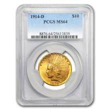 1914-D $10 Indian Gold Eagle MS-64 PCGS #31254v3