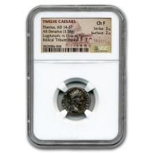 Roman Silver Denarius Emperor Tiberius (14-37 AD) CH Fine NGC #31104v3
