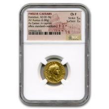 Roman Gold Aureus Emperor Domitian (81-96 AD) CH Fine NGC #31184v3