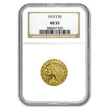 1915-S $5 Indian Gold Half Eagle AU-53 NGC #31264v3