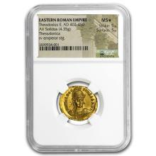 Eastern Roman Gold Solidus Theodosius II (402-450 AD) MS* NGC #31206v3