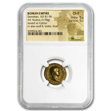 Roman Gold Aureus Emperor Domitian (81-96 AD) CH Fine NGC #31203v3