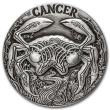 1 oz Silver Round Cancer - Zodiac Series #21708v3