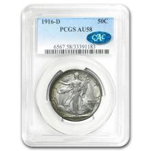 1916-D Walking Liberty Half Dollar AU-58 PCGS CAC #31253v3