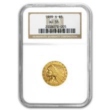 1909-S $5 Indian Gold Half Eagle AU-55 NGC #31263v3