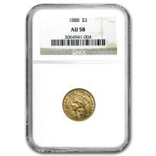 1888 $3 Gold Princess AU-58 NGC #31266v3