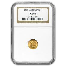 1917 Gold $1.00 McKinley MS-66 NGC #31261v3