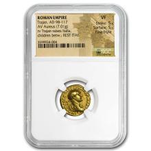 Roman Gold Aureus Emperor Trajan (98-117 AD) VF NGC Fine Style #31205v3