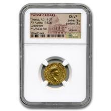 Roman Gold Aureus Tiberius (14-37 AD) CH VF NGC #31181v3