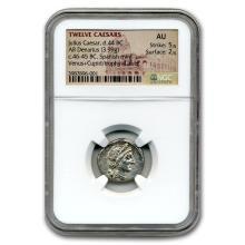 Roman Silver Denarius Emperor Julius Caesar (46-45 BC) AU NGC #31185v3