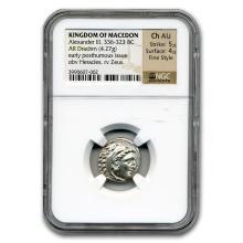 Macedonia Silver Drachm Emperor Alexander III (336-323) CH AU NGC #31098v3