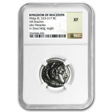 Macedonia AR Silver Drachm Philip III (323-317 BC) XF NGC #31304v3