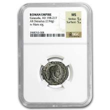 Roman Silver Denarius Emperor Caracalla (198-217 AD) MS NGC #31307v3