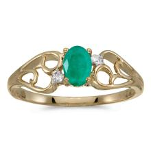 Certified 10k Yellow Gold Oval Emerald And Diamond Ring #25578v3