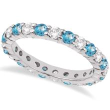 Eternity Diamond and Blue Topaz Ring Band 14k White Gold (2.40ct) #20634v3
