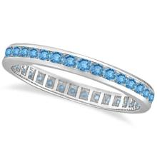 Blue Topaz Channel-Set Eternity Ring Band 14k White Gold (1.00ct) #20628v3