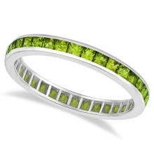 Princess-Cut Peridot Eternity Ring Band 14k White Gold (1.36ct) #21185v3