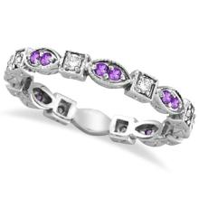 Amethyst and Diamond Eternity Anniversary Ring Band 14k White Gold #20773v3