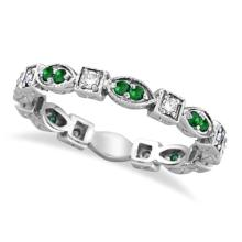 Emerald and Diamond Eternity Ring Anniversary Band 14k White Gold #20677v3