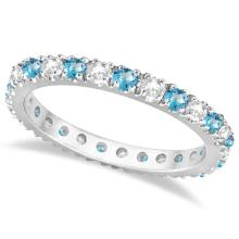 Diamond and Blue Topaz Eternity Ring Stack Band 14K White Gold (0.64ct) #20613v3