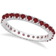 Garnet Eternity Band Stackable Ring 14K White Gold (0.50ct) #20631v3