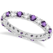 Eternity Diamond and Amethyst Ring Band 14k White Gold (2.40ct) #20641v3