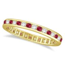1.04ct Ruby and Diamond Channel Set Ring Eternity Band 14k Yellow Gold #20574v3