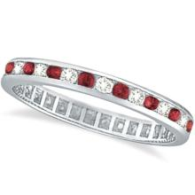 1.04ctw Ruby and Diamond Channel Set Ring Eternity Band 14k White Gold #20512v3