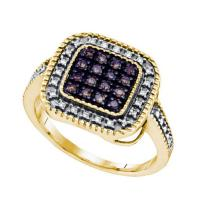 925 Sterling Silver Yellow 0.19CTW COGNAC DIAMOND MICRO PAVE RING #58382v2