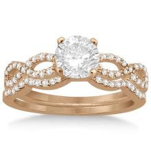 Infinity Twisted Diamond Matching Bridal Set in 18K Rose Gold (0.34ct) #20804v3