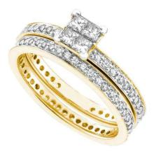 14KT Yellow Gold 0.97CTW DIAMOND LADIES FASHION ETERNITY BRIDAL SET #56778v2