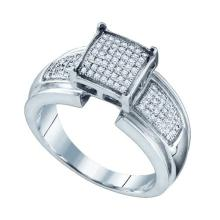 925 Sterling Silver White 0.29CTW DIAMOND MICRO PAVE RING #58383v2