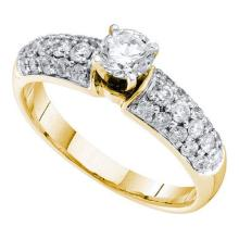 14KT Yellow Gold 1.0CTW DIAMOND 0.40CTW ROUND CENTER LADIES BRIDAL RING #56771v2