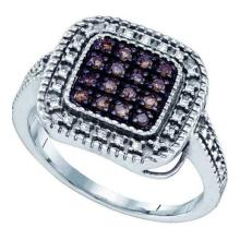 925 Sterling Silver White 0.19CTW COGNAC DIAMOND MICRO PAVE RING #58381v2
