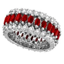 Marquise Ruby and Diamond Eternity Ring 14k White Gold (5.25 ctw) #21100v3