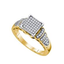 925 Sterling Silver Yellow 0.20CTW DIAMOND MICRO PAVE RING #58340v2