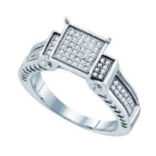 925 Sterling Silver White 0.24CTW DIAMOND MICRO-PAVE RING #58385v2