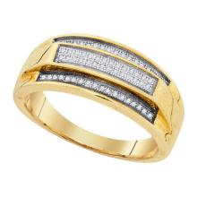 925 Sterling Silver Yellow 0.19CT DIAMOND MICRO-PAVE MENS BAND #58336v2