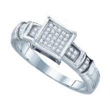 925 Sterling Silver White 0.12CTW DIAMOND MICRO PAVE RING #58338v2