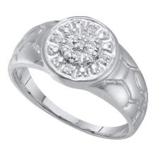 10KT White Gold 0.12CTW DIAMOND CLUSTER MENS RING #53349v2