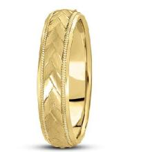 Braided Men's Wedding Ring Diamond Cut Band 14k Yellow Gold (5 mm) #21150v3