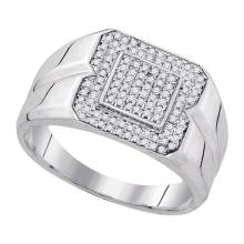 925 Sterling Silver White 0.33CT DIAMOND MICRO-PAVE MENS RING #54024v2