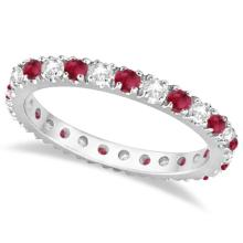 Diamond and Ruby Eternity Ring Stackable Band 14K White Gold (0.51ct) #20526v3