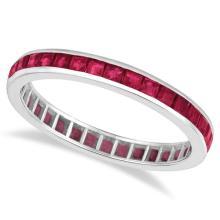 Princess-Cut Ruby Eternity Ring Band 14k White Gold (1.20ct) #20494v3