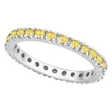 Fancy Yellow Canary Diamond Eternity Ring Band 14K White Gold (0.51ct) #20437v3