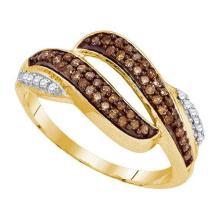 10KT Yellow Gold 0.33CTW COGNAC DIAMOND MICRO-PAVE RING #50605v2