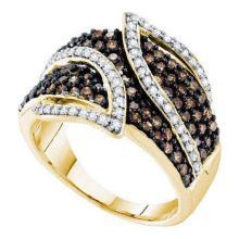 10KT Yellow Gold 1.00CTW COGNAC DIAMOND LADIES FASHION BAND #50596v2